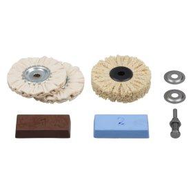 Poliravimo rinkinys WOLFCRAFT 2179000 (veltinio, medžiag.diskai, pasta, laikiklis).
