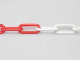 Plastikinė grandinė, 6mm, raudonos / baltos spalvos