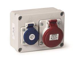Paskirstymo dėžutė su lizdais FAMATEL 3067, 2P+TT 16A + 3P+T 16A ~380V, IP44, matmenys 110 x 153 x 63 mm