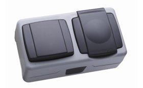 Bloko lizdas su dangteliu ir jungikliu MAKEL , 0004155 hermetinis IP55, juodas,