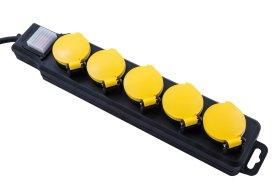 Ilgiklis ELECTRALINE, 5 lizd., 5 m, su įž., su jungikliu, 3 x 1,5, su dangteliais, IP44, su apsauga vaikams, juodos sp., 62660