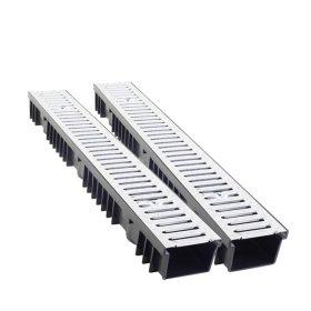 Latakas plastikinis BIELBET Matmenys 1000 x 130 x 105 mm Su cinkuotomis grotelėmis, juodas; Apkrova - 1,5 t