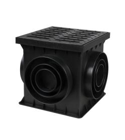 Šulinėlis BIELBET, kvadratinis, su plastikinėmis grotelėmis 250 x 250 x 250mm, juodas