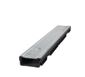 Latakas BIELBET, matmenys 1000 x 130 x 55 mm,  apkrova - 1,5 t, plastikinis, cinkuotos grotelės, juodos spalvos