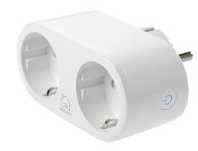 Išmanusis kištukinis lizdas DELTACO SMART HOME SH-P02, WiFi, valdomas su programėle, 2 vietų, su įž., 2,4 GHz, 2XCEE 7/3, 10A, 220-240V, su energijos stebėjimu, turi laikmačio funkciją, baltos spalvos