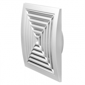 Grotelės d125/190 x 190  ND12G Ventiliacinės, plastikinės, kvadratinės, baltos, luboms