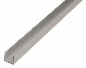 Aliuminio profilis U formos, anoduotas, sidabrinės sp., Matmenys 1,5 x 15 x 15 x 1000 mm, 471941