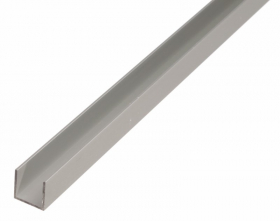 Aliuminio profilis U formos, anoduotas, sidabrinės sp., Matmenys 1,5 x 20 x 20 x 1000 mm, 473877