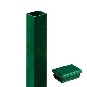 Stulpas tvoros segmentui su dangteliu HERVIN GARDEN  40 x 60 mm, h-2000 mm, Zn, žalias.