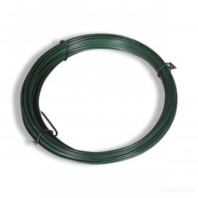 Įtempimo viela tvoros tinklui HERVIN GARDEN, cinkuota, dengta PVC, skersmuo 2,3 mm, 30 m rulone, žalia