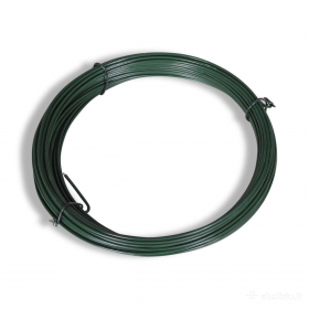 Įtempimo viela tvoros tinklui HERVIN GARDEN, cinkuota, dengta PVC, skersmuo 2,8 mm, 30 m rulone, žalia