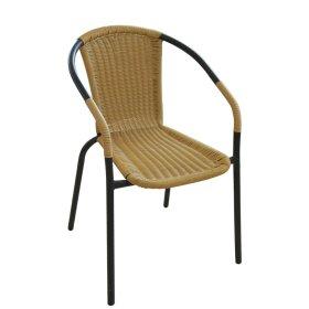 Metalinė kėdė NOVELLY HOME 54x58x74cm,smėlio spalvos, plienas, sintetinis ratanas, maks. apkrova iki 120kg