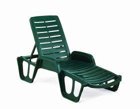 Plastikinis sulankstomas pliažo gultas LETTINO žalios spalvos, maks. apkrova iki 120kg