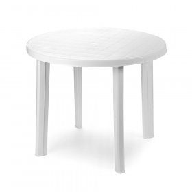 Plastikinis stalas TONDO, baltos spalvos, 90cm, maks. apkrova iki 60kg