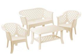 Plastikinis sodo baldų komplektas VERANDA baltos spalvos, maks. apkrova iki stalas 35kg, stalas 120kg, suolas 120kg per vieną vietą