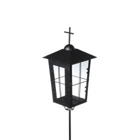 Metalinė juoda žvakidė su kryžiumi 13x13x27, 57cm