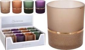 Žvakidė, su aksomine dekoracija, įvairių spalvų, 8 cm.
