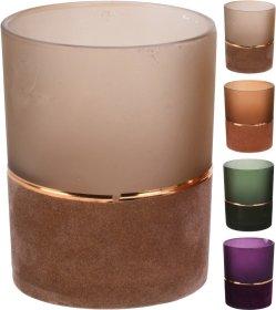 Žvakidė, su aksomine dekoracija, įvairių spalvų, 12 cm.