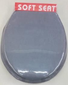 Minkštas klozeto dangtis 42,5x36x5cm, tamsiai pilkas, su tvirtinimo elementais