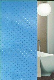 Vonios užuolaida 180x180cm, tekstilinė, su žiedais, mėlyni deimantai