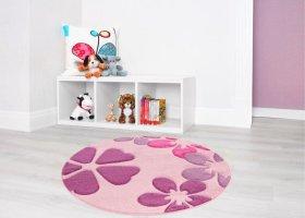 Kilimas FLAIR CARV, 120 x 120 cm, apvalus, rožinės spalvos, ST