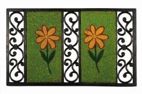 Kilimėlis FU Salmone Flower green, 45 x 75 cm, ST