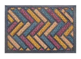 Kilimėlis RICCO TARTAN PLUS, 40 x 60 cm, spalvoti zigzagai, 100% kokoso pluoštas ant PVC pagrindo, 872-101