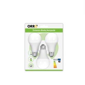 LED lempa ORRO, 10W, E27, A60, 230V, 4000K, 800 lm, 3vnt., 55021, N
