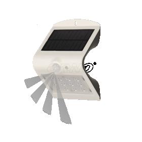 Lauko šviestuvas ORNO OR-SL-6083WLR4, su saulės elementais/baterija, plastikinis, sieninis, su judesio davikliu, 1,5W, 14 SMD LED diodų, 220 lm, IP65, 4000K, baltos sp., 024491S