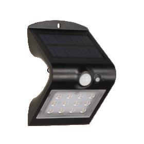 Lauko šviestuvas ORNO OR-SL-6083BLR4, su saulės elementais/baterija, plastikinis, sieninis, su judesio davikliu, 1,5W, 14 SMD LED diodų, 220 lm, IP65, 4000K, juodos sp., 024490S