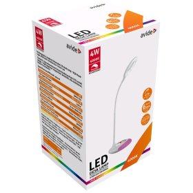Stalinis šviestuvas AVIDE ABLDLRGB-4W, 18 LED, 4 W, 4000K, 240 lm, IP20, įkraunamas, dimeriuojamas, baltos spalvos, sensorinis valdymas, USB įkrovimo laidas, RGB keičiantis spalvas padas