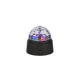 Stalinis nakties šviestuvas GLOBO DISCO, LED, 6 x 0,06W, 3V, juodas plastikas, permatomas gaubtas, jungiklis, 3 x AA elementai, 90 x 90 mm, 28014
