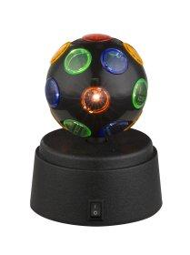 Stalinis nakties šviestuvas GLOBO DISCO, LED, 1 x 0,06W, 3V, juodas plastikas, juodas gaubtas su daug spalvų, jungiklis, 3 x AA elementai, 90 x 121 mm, 28017