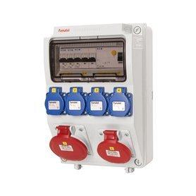 Automatinių išjungiklių skydelis FAMATEL 3958.5.4, 9 modulių + 4 kištukiniai lizdai + 2 trifaziai lizdai, 4X2P+TTL 16A ~250V, 2X3P+N+T 16A 380V