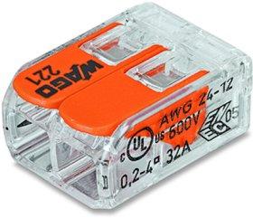 Jungtis laidams WAGO 221-412/20 0,02-4 mm, 32 A, 2 laidų, universali, 20 vnt.