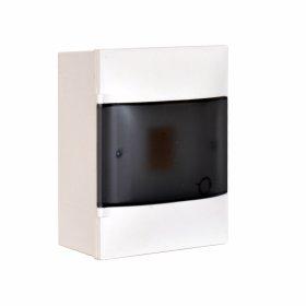 Automatinių išjungiklių skydelis LEGRAND PRACTIBOX S, 4 modulių, paviršinis, baltas su skaidriomis durelėmis, IP40, 134114