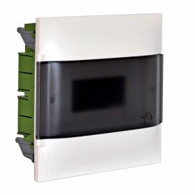 Automatinių išjungiklių skydelis LEGRAND PRACTIBOX S, 12 modulių, įleidžiamas, baltas su skaidriomis durelėmis, komplekte su kontaktinėmis kaladėlėmis nuliui ir įžeminimui, IP40, 135151
