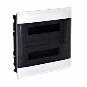 Automatinių išjungiklių skydelis LEGRAND PRACTIBOX S, 24 modulių, įleidžiamas, baltas su skaidriomis durelėmis, komplekte su kontaktinėmis kaladėlėmis nuliui ir įžeminimui, IP40, 135152