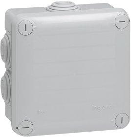 Paskirstymo dėžutė PLEXO paviršinė, 105x105x55 mm, IP55, su išvadais, plastikinė, pilka, 092136