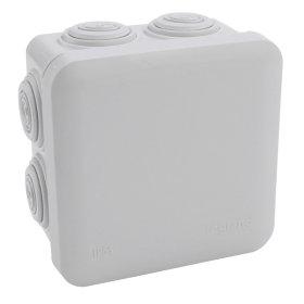 Paskirstymo dėžutė PLEXO paviršinė, 80 x 80 x 45 mm, IP55, su išvadais, plastikinė, pilka, 092126