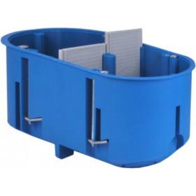 Montažinė dėžutė, 60 mm, g/k, 2 vietų, pagilinta, nepalaiko degimo, mėlynos spalvos