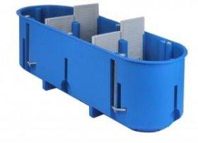 Montažinė dėžutė, 60 mm, g/k, 3 vietų, pagilinta, nepalaiko degimo, mėlynos spalvos