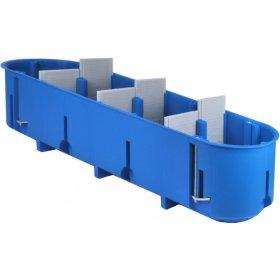 Montažinė dėžutė, 60 mm, g/k, 4 vietų, pagilinta, nepalaiko degimo, mėlynos spalvos