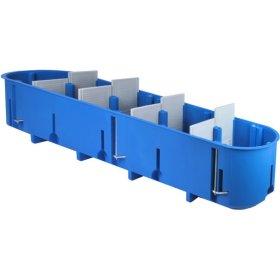 Montažinė dėžutė, 60 mm, g/k, 5 vietų, pagilinta, nepalaiko degimo, mėlynos spalvos