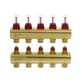 """Grindinio šildymo kolektorius, DANFOSS SSM-5F 1"""", 5 žiedų, reguliuojamas, plieninis, su debitomačiais, 088U0755"""
