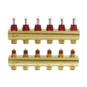 """Grindinio šildymo kolektorius, DANFOSS SSM-6F 1"""", 6 žiedų, reguliuojamas, plieninis, su debitomačiais, 088U0756"""