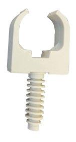Vamzdžio laikiklis ELECTRALINE, 25 mm skersmens vamzdžiui tvirtinti, inkaras į sieną 6 mm skersmens, baltos sp., 15 vnt., 60733