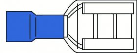 Laido antgalis ELECTRALINE, plokščias lizdas, 6,35 mm, mėlynos sp., 10 vnt., 962288