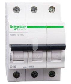 Automatinis išjungiklis SCHNEIDER, 3P, 16 A, 6 kA, K60N, C, 16-4-A9K02316