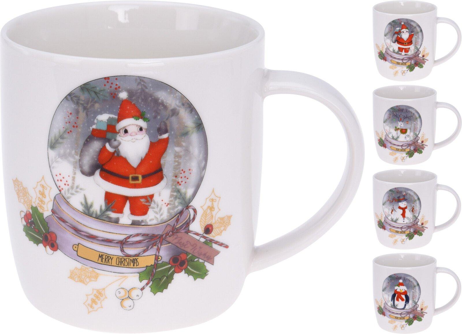 Kalėdinis puodelis su sniego burbulo atvaizdu
